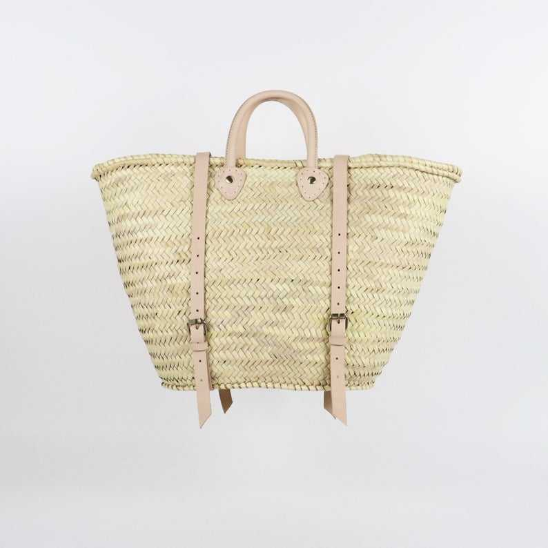 Straw Market Basket Backpack with leather handles