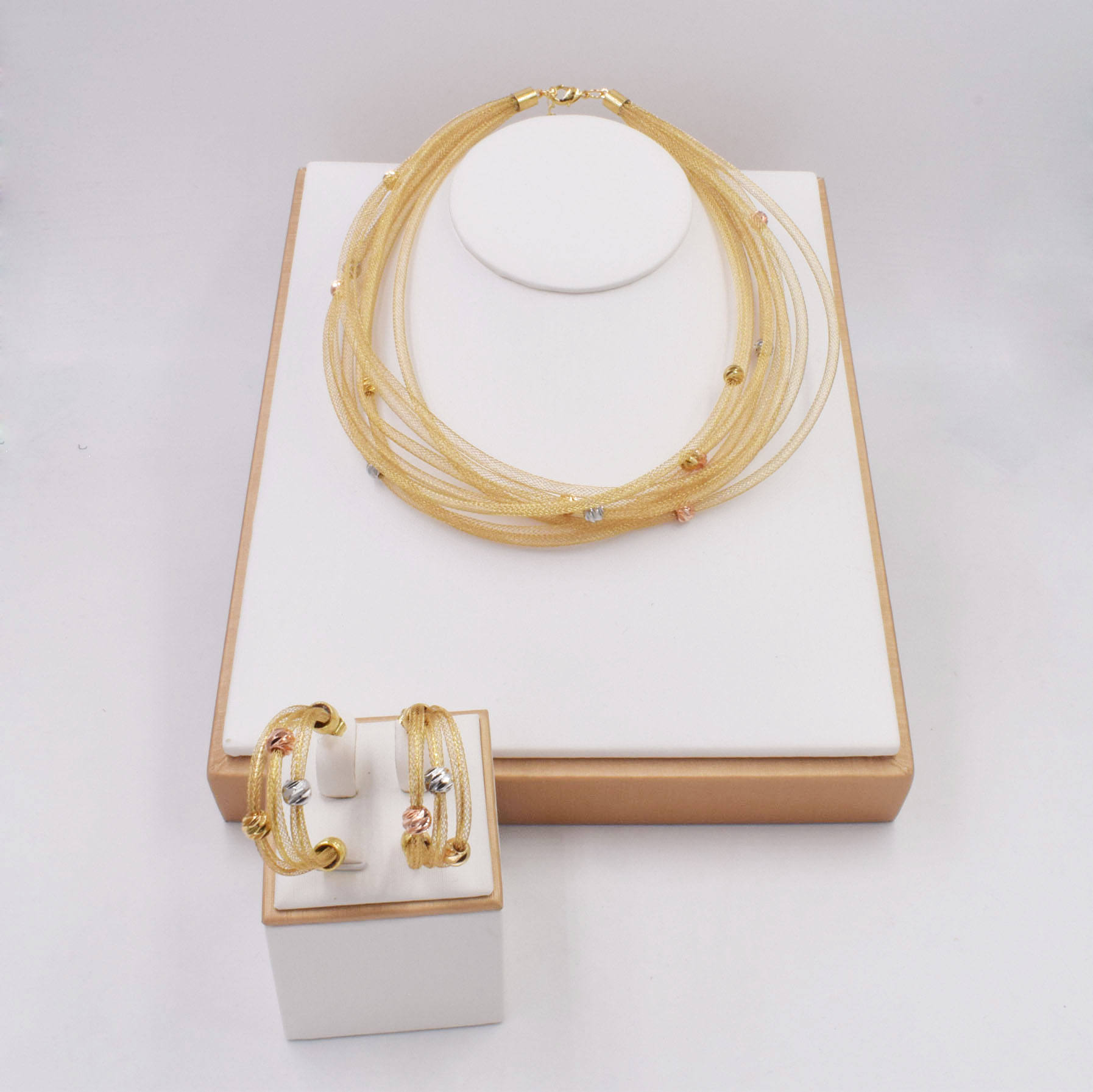 18K Italy Dubai Necklace New Design Bridal Fashion Jewellery Sets Ball Wedding Jewelry Sets NT0061