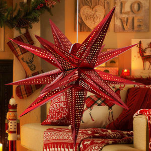 3D Shining Red Solid Paper Star Lantern Led Light Party Decoration