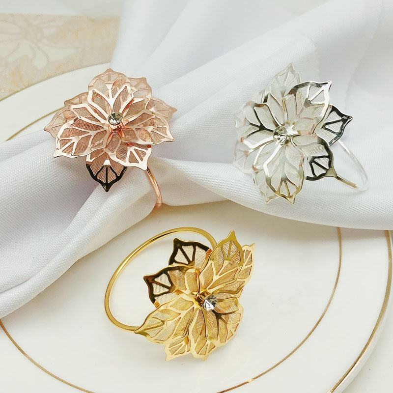 Wholesale Cheap Sun Flower Napkin Rings Gold Metal Napkin Ring Holder Rose Gold Wedding Napkin Rings Chrysanthemum HWM04