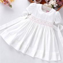 B38543 summer white dress smocked dresses for girls clothing solid fashion boutiques kids clothes children outfit wholesale