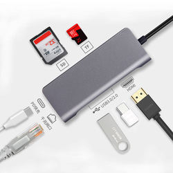 7 In 1 USB-C HUB PD Fast Charging To 4K HDMI RJ45 Port To TF/SD Card  For Tablet PC Laptop Type-C Dock Adapter