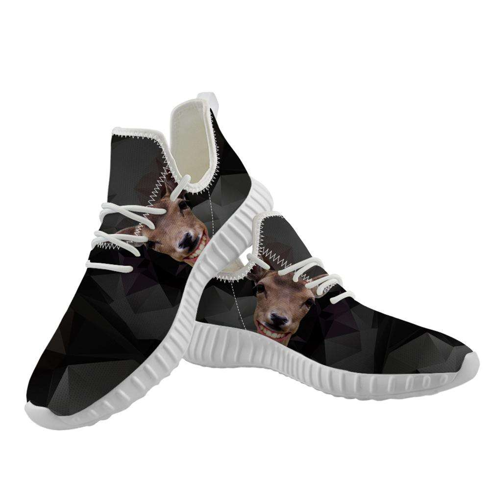 OEM ODM 1 Pair Dropshipping 3D Printing Funny Deer Cute Animal Walking Shoes Fashionable Light Sport Shoes men Casual
