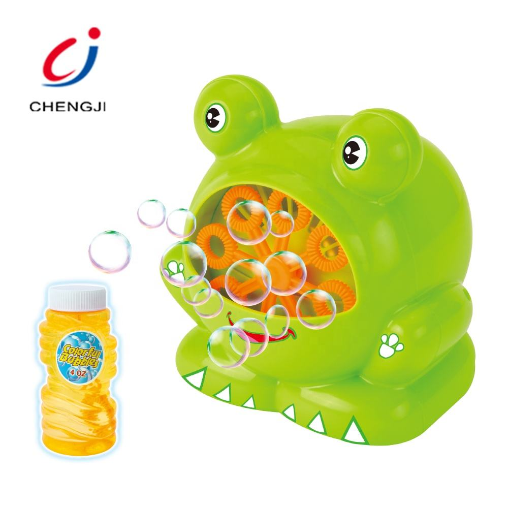 Summer toys plastic electronic soap outdoor frog children bubble toy machine
