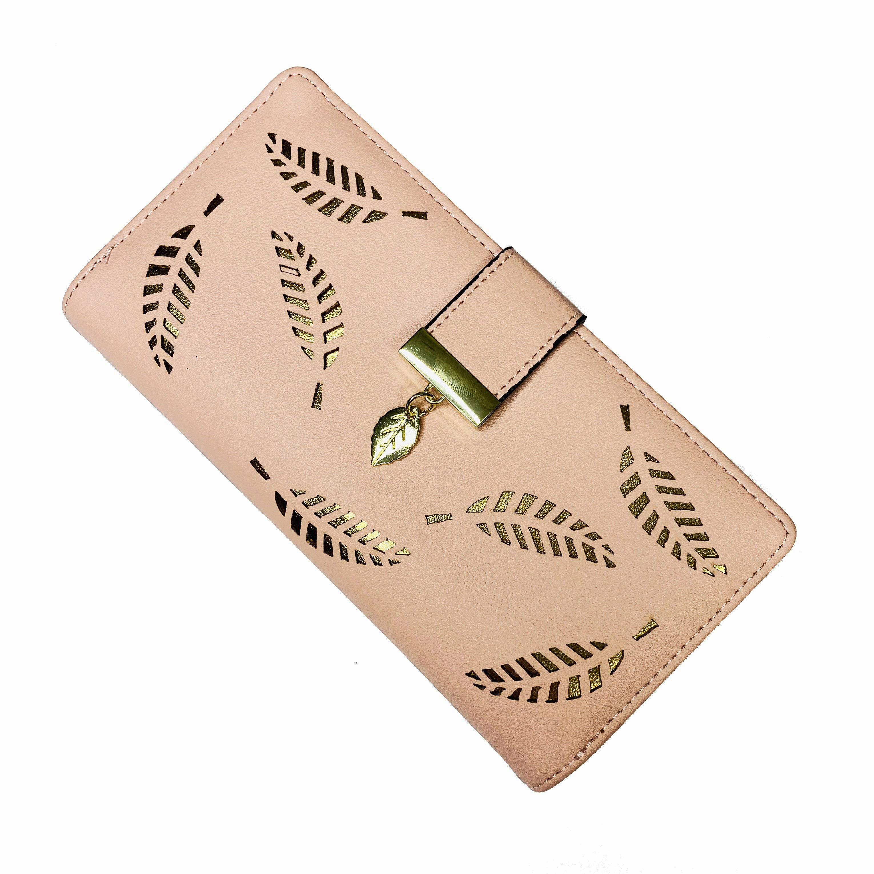2019 trend designer Hollow out gold leaf pink leather wallet women