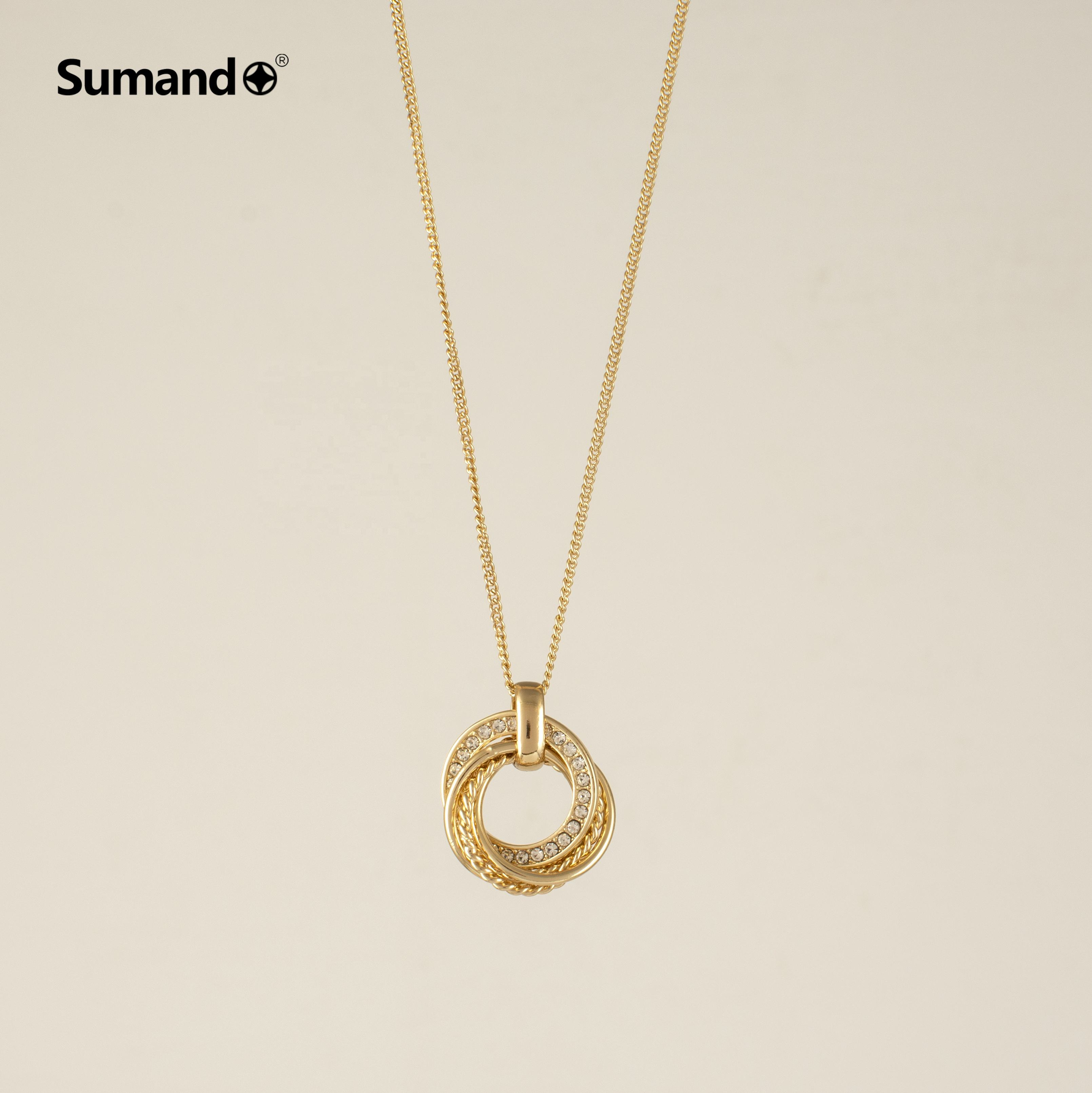 Graphic Customization Gold Necklace The Necklace Sumando Hot Sale Women Trending Twist Round Gold Chain Pendant Necklace