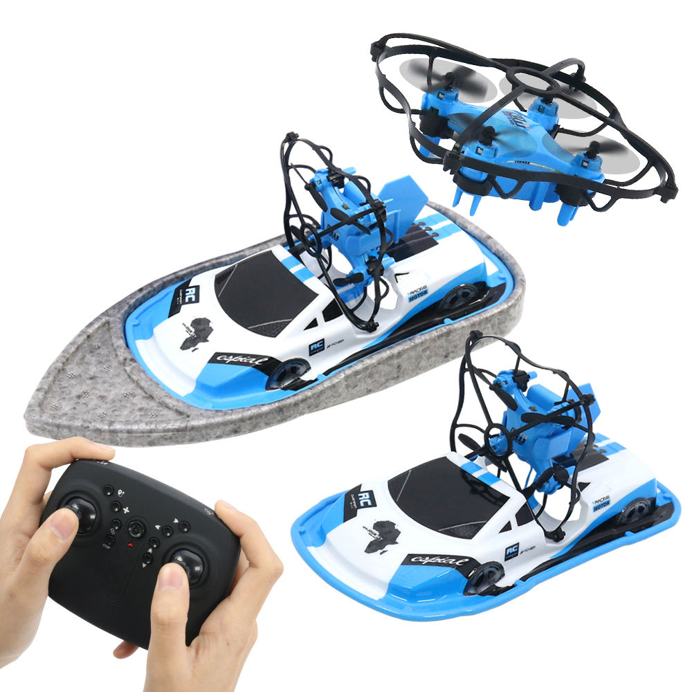 Qilong Vehicle X Drone Boat 3 In 1 Ground Water Air Triphibian Rc Terzetto Hovercraft Easy Assembly Drone Boat