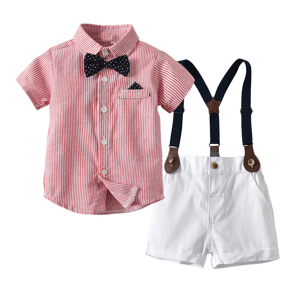 Cotton baby boy 4pcs gentleman suit for wedding and party boy's clothing set Carded shorts