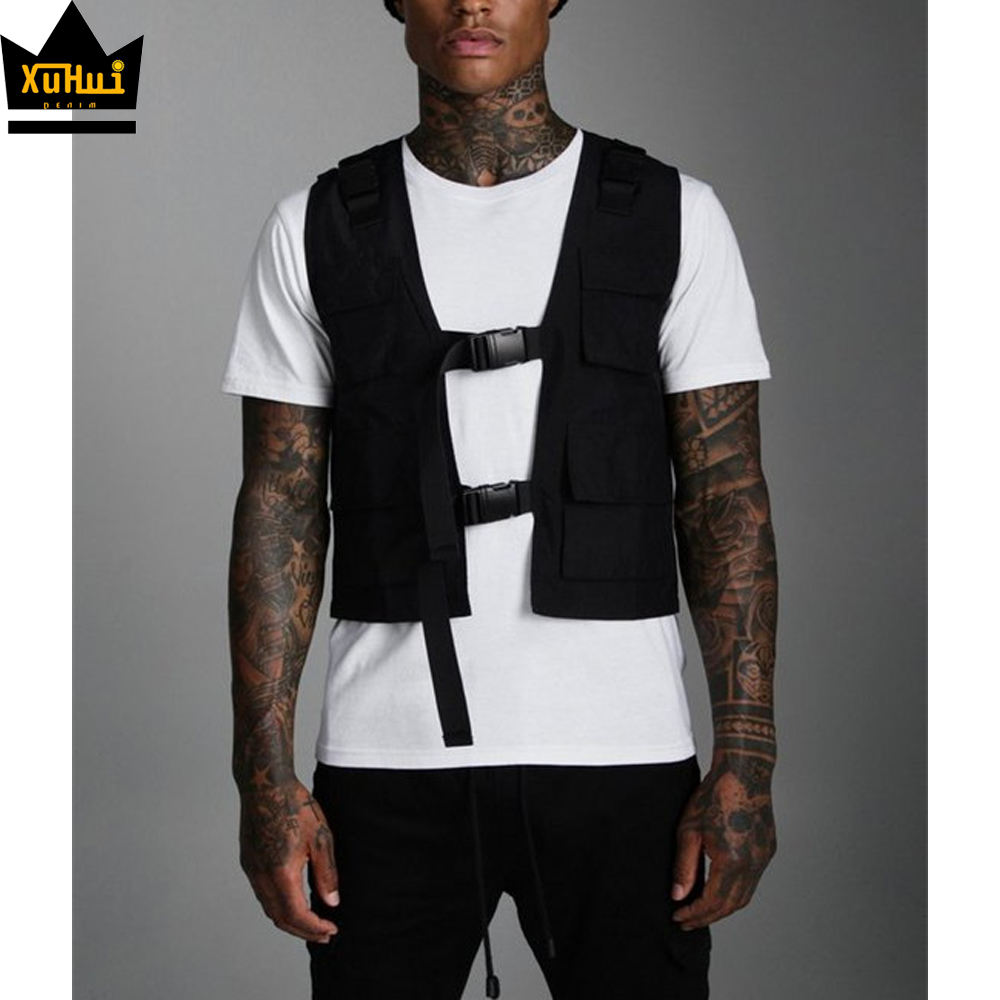 Fashion waistcoat vest for mens custom straps nylon work training breathable utility vest mesh homme