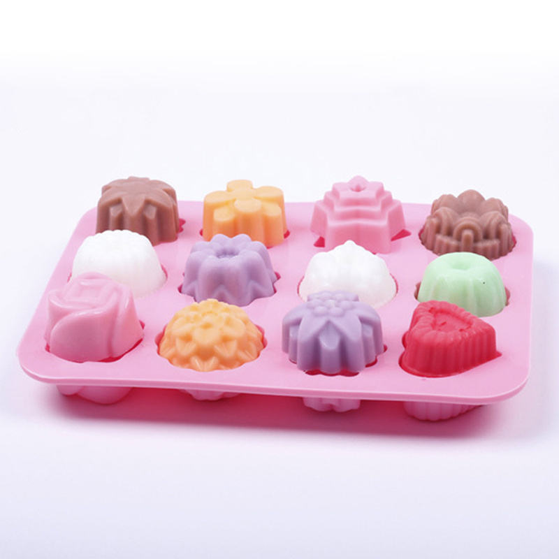 Cookies Shape Silicone Khuôn Cho Baking <span class=keywords><strong>Bánh</strong></span> Sô Cô La Fondant Xà Phòng <span class=keywords><strong>Nến</strong></span> Khuôn Cho Pastry Pudding Jelly 12 Lỗ