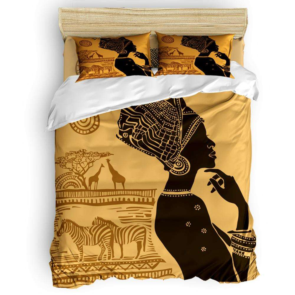 African art women High Quality Comfortable 3Pcs/4Pcs Bed Sheet Bedding Set for Hotel Customized Textiles