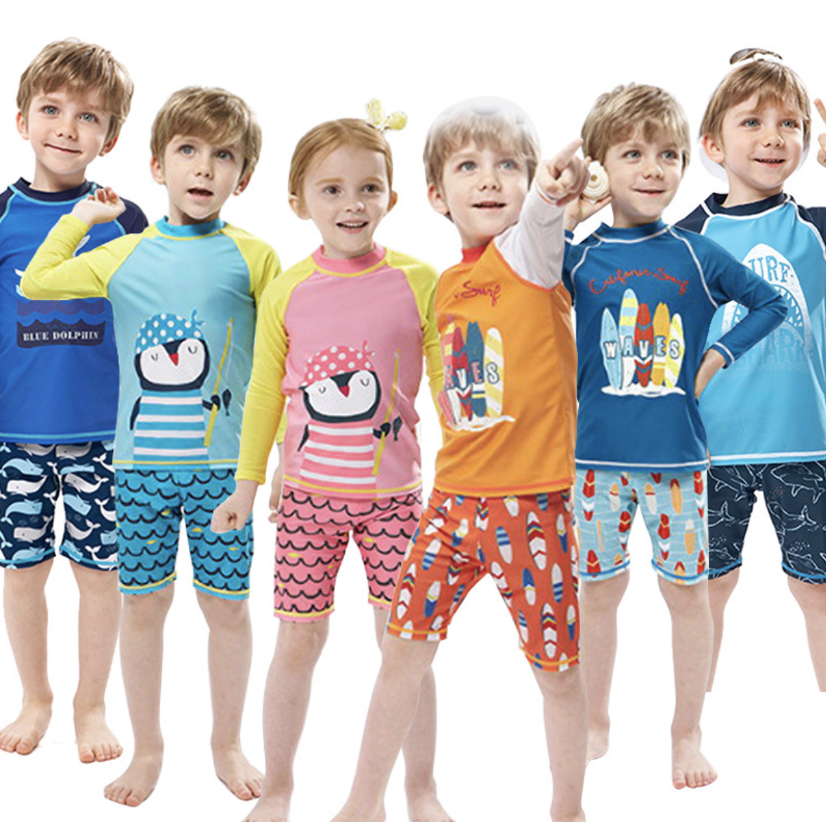Europe Little Boys And Girls Swimwear Korean Style Little Kids Beach Swimsuits With Sun Protection