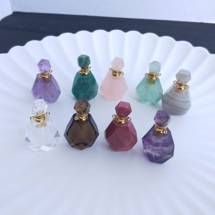 Hot sale natural handicrafts semi - gem carved crystal perfume bottles gifts