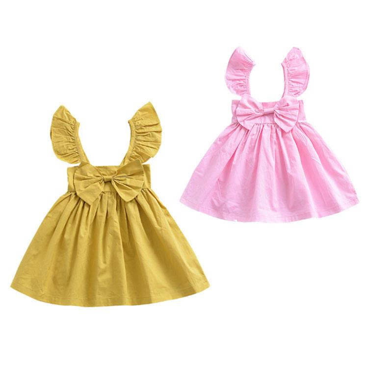 Bebé vestido de las niñas de vuelo de manga vestido sin mangas de chaleco vestido vestidos de bebé