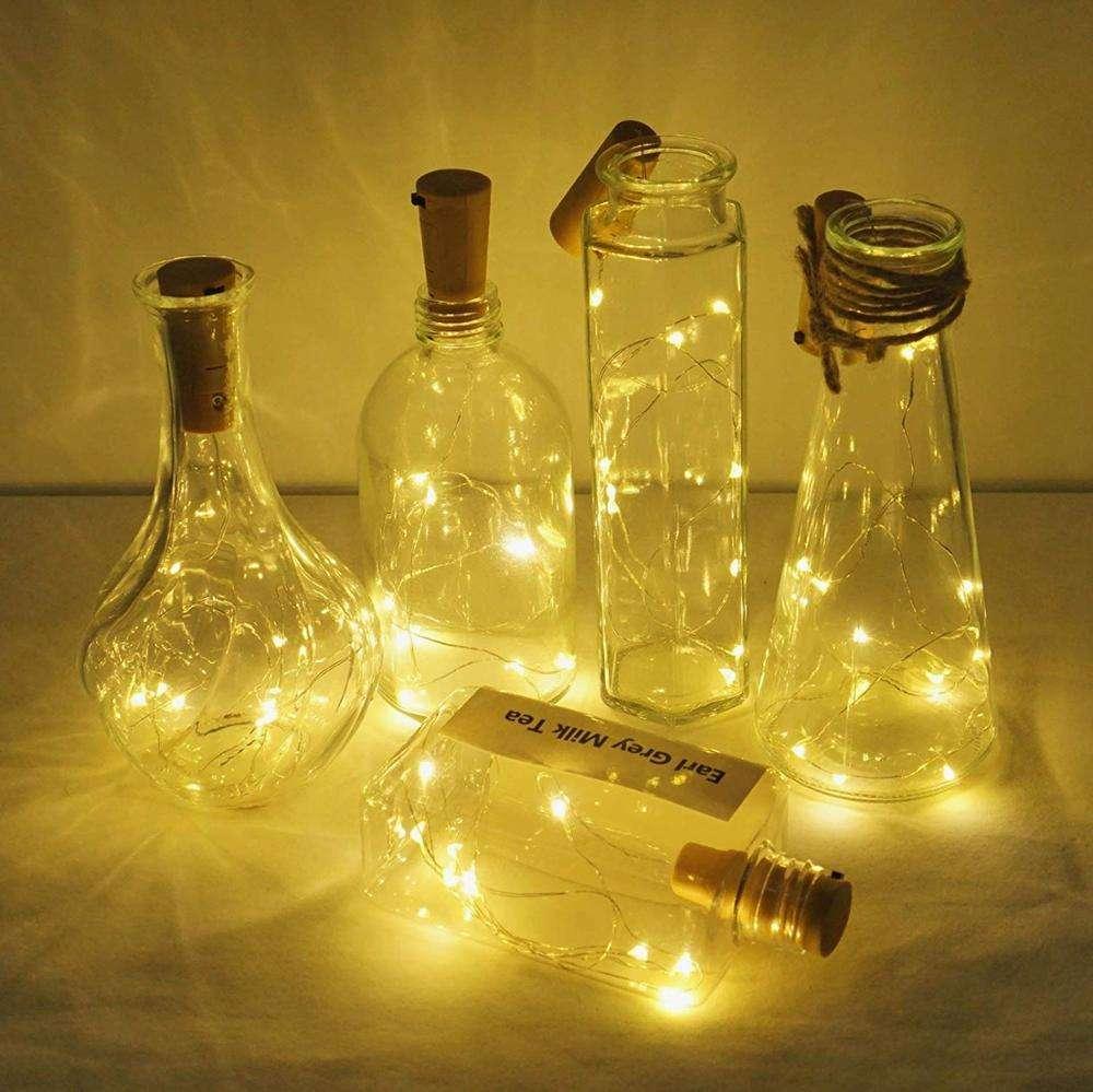 Lot 10//20//50 1M 20Leds Cork Shaped String Light Starry Light Bottle Lamp battery