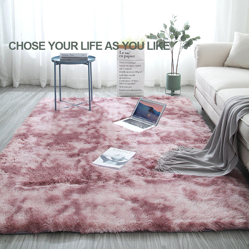 Soft Silk Shaggy Tapis Carpet/Super Soft Living Room Tie-Dye Anti-slip Rug