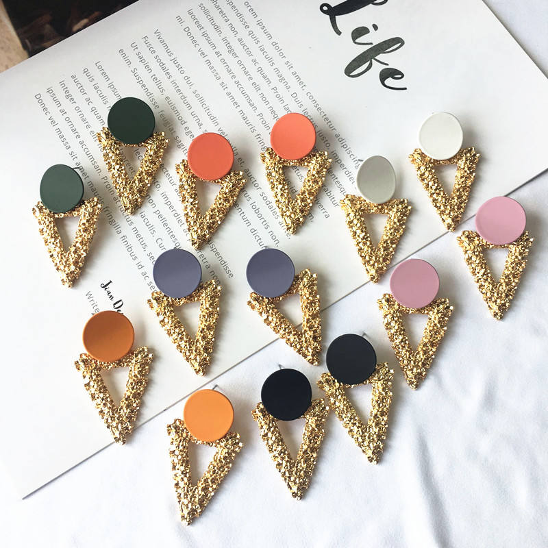 Trendy unique gold plated triangle earrings daily wear hanging stud earrings accessories women earrings making supplies jewelry