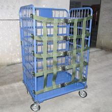 Shunhong customized heavy duty metal mobile roll cage trolleys with securing straps roll container