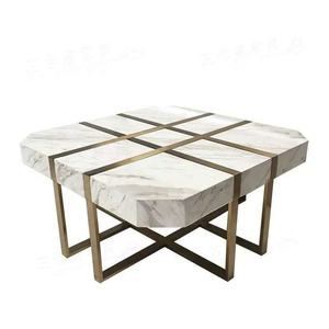 Luxury gold stainless steel leg modern white real marble coffee table