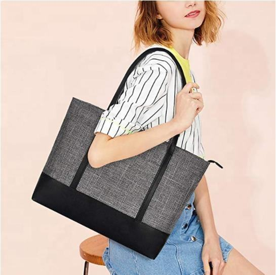 Fits 15.6-17 Inch Laptop Womens Lightweight Water Resistant Nylon PU Faux Leather Handle Tote custom Shoulder Bag women
