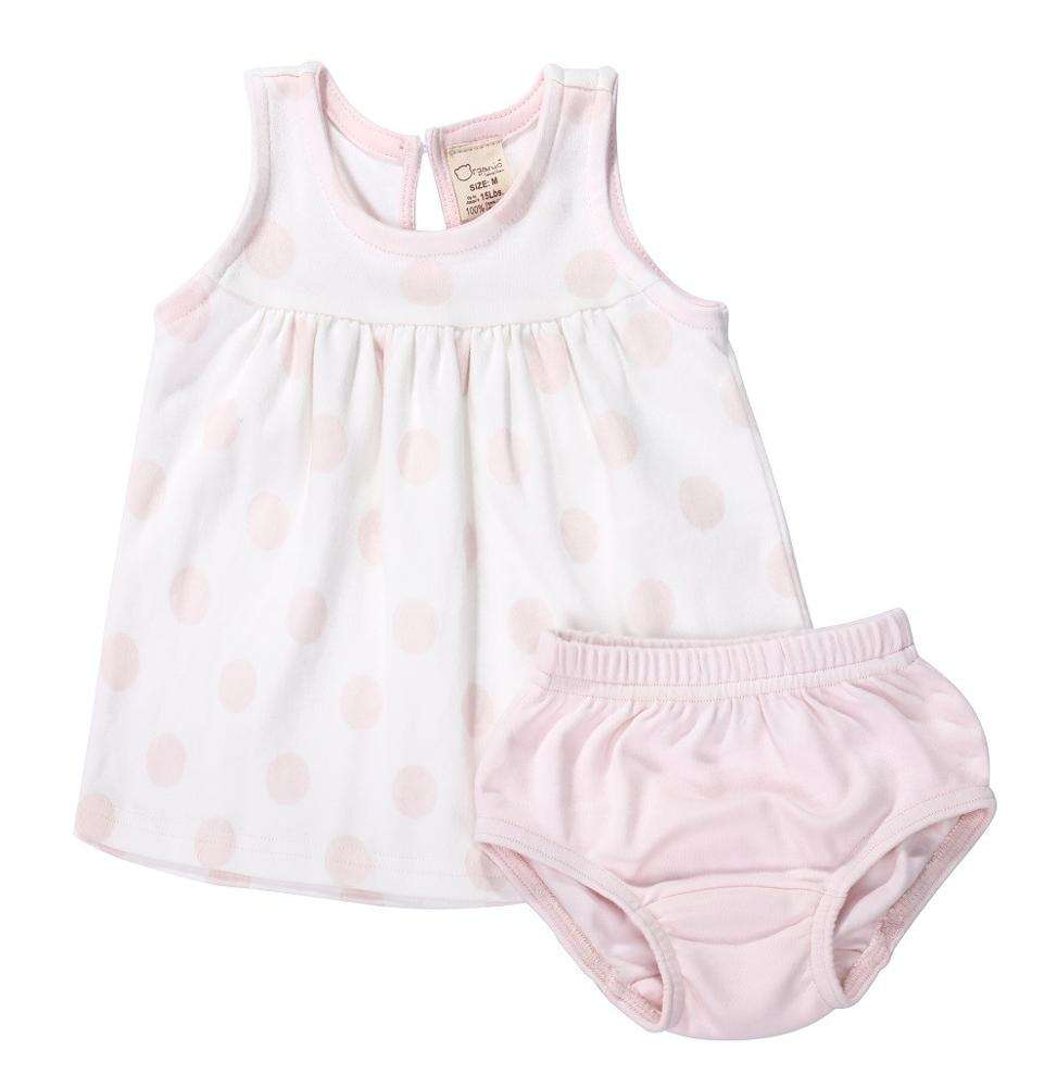 Lovely design pink dots baby girl summer dress 2 piece organic cotton outfits clothes set