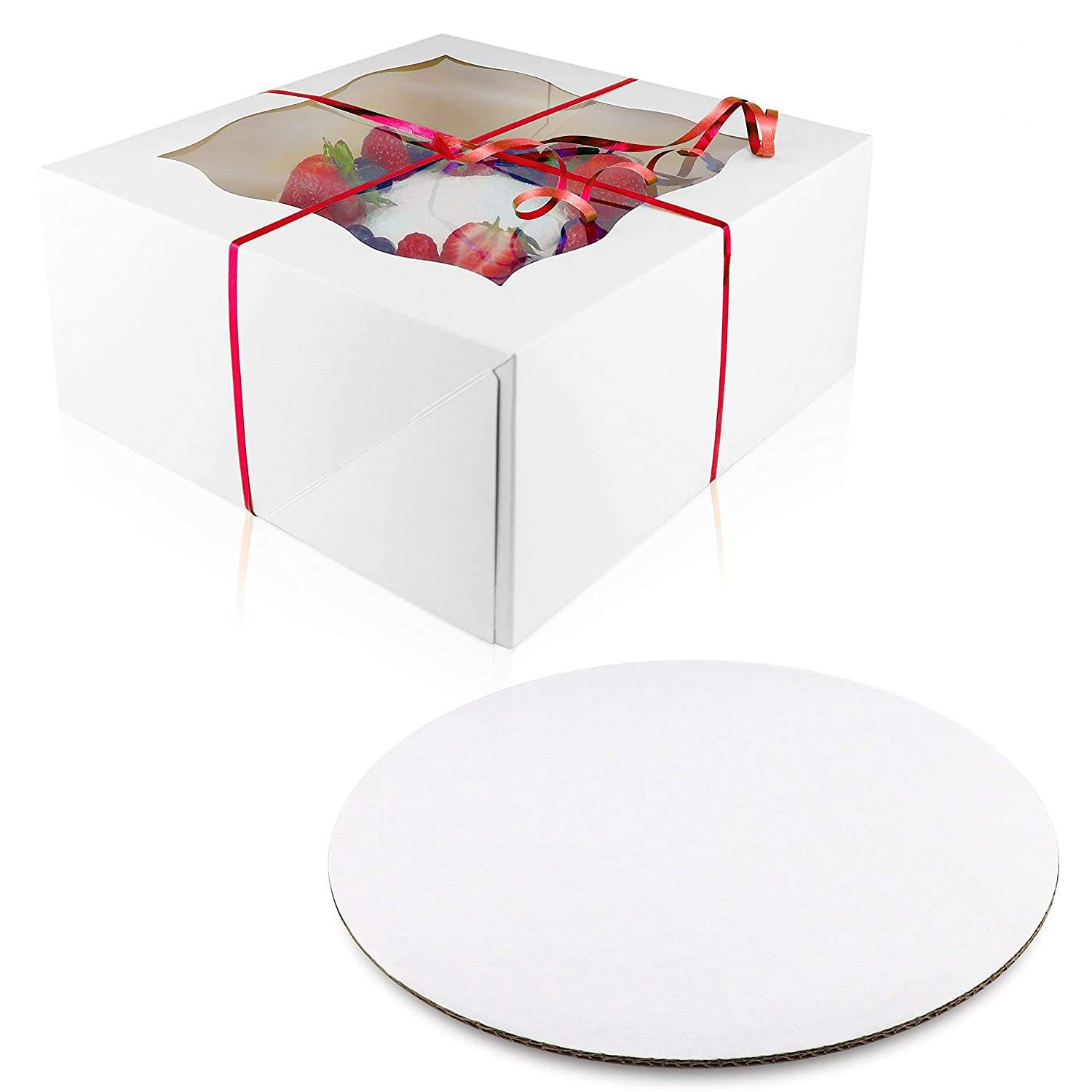 Cake Boards Set Sturdy Cake Boxes 10 x 10 x 5cm 10 Inch Boards Window Cardboard Round Cake Boards Boxes