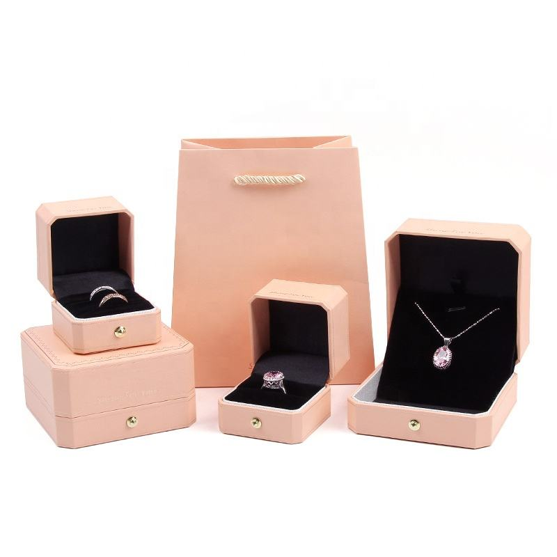 Pink Octagon Custom Jewelry Box with LOGO Leatherette Paper Jewelry Packaging necklace earring box Jewellery Ring Boxes for Sale