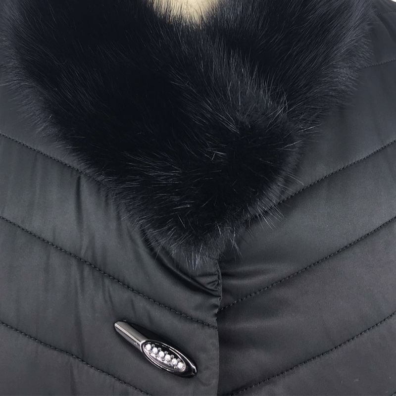 Powerful manufacturers long winter coats jacket duck down black Asymmetrical fur collar thick womens coat