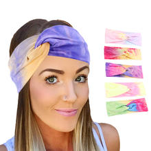 Wholesale New Printing Girls Headbands Cotton Tie Dye Twisted Stretchy Head Accessoires Yoga Sport Head Band TD-219