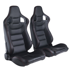 Sport Bucket Seat Racing Seat Universal fit for Most Car Sport Seats PVC Leather 1 Pair