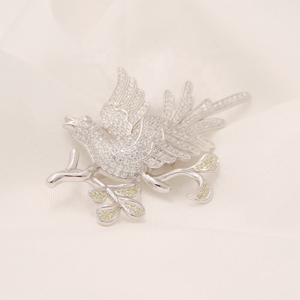 Sterling Silver Diamond Bird Rhinestone Crystal Men Shirt Chain Brooch Pin