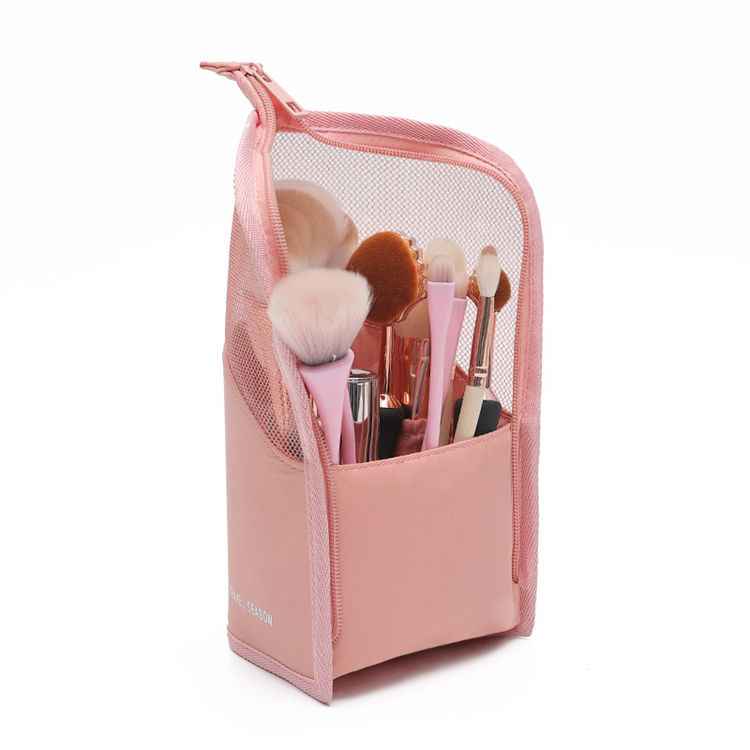 Portable Travel Standing Pink Makeup Brush Organizer Bag Case For Cosmetic Brushes