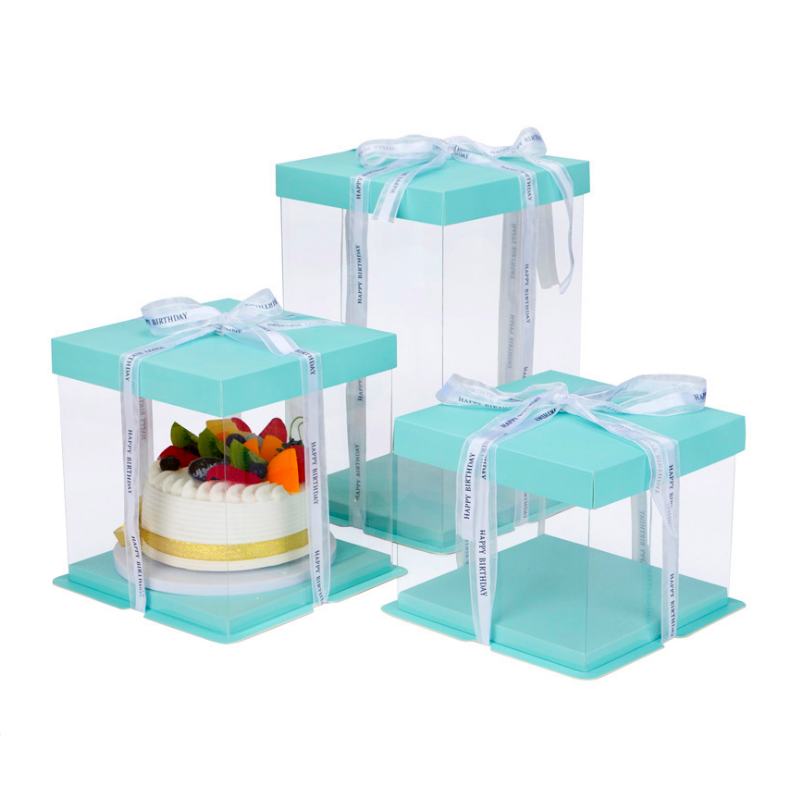 Clear Round Square Tall Transparent Cake Box Pet Pvc Wedding Birthday Party Gift Box