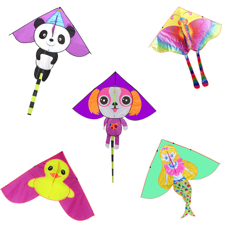 Professional funny cartoon toys animal snylon triangle flying hape kite for kids
