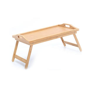 Customized Logo Folding Bamboo Wooden Bed Computer Table Tray Breakfast Serving Table Lap Tray