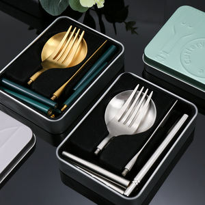 New Collapsible Knife Spoon Fork Detachable Portable Cutlery Outdoor Stainless Steel Pocket-Sized Cutlery Set with Tinplate Case