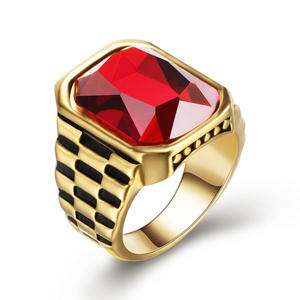 Daicy Sieraden Hoge Kwaliteit Roestvrij Staal Grote Hiphop Mannen Gold Ruby Cz Ring