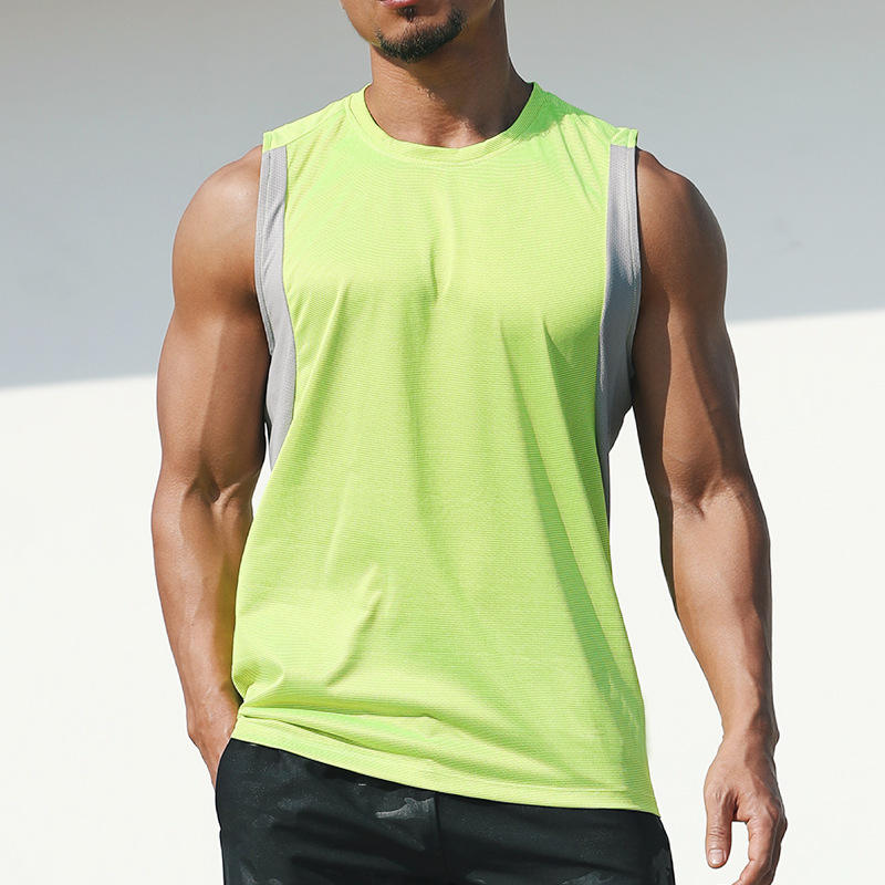 Quick-drying Men Fitness Gym Sports Tank Top Running Basketball Training Loose Sleeveless Marathon Vest Deep Cut Muscle Tee