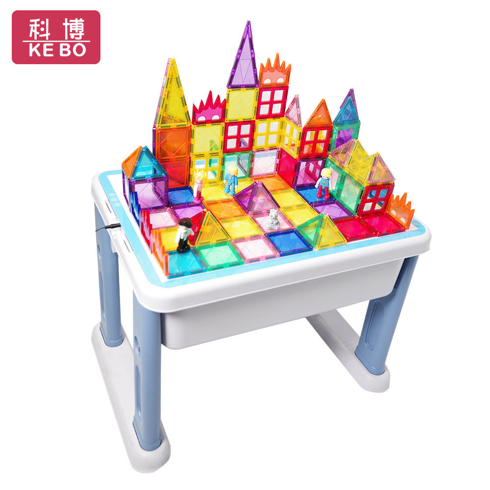 LED Multifunctional Children Desk Building Blocks Assembled Learning Table Study Tables Kids Playing Bricks Toys&Hobbies