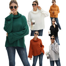 2021 Casual turtleneck Women's Sweater women clothes Knitwear Loose solid color oversize Sweaters pullover ladies sweater