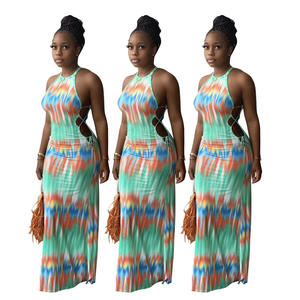 Jiangxi Jiasheng women's dress Amazon fashion colorful tie-dye striped print dress with a necktie