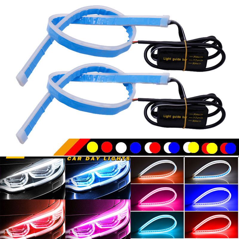 2Pcs set Sedan White Amber Car LED Flexible Headlight Strip Sequential Flowing Daytime Running LED DRL Lights for car
