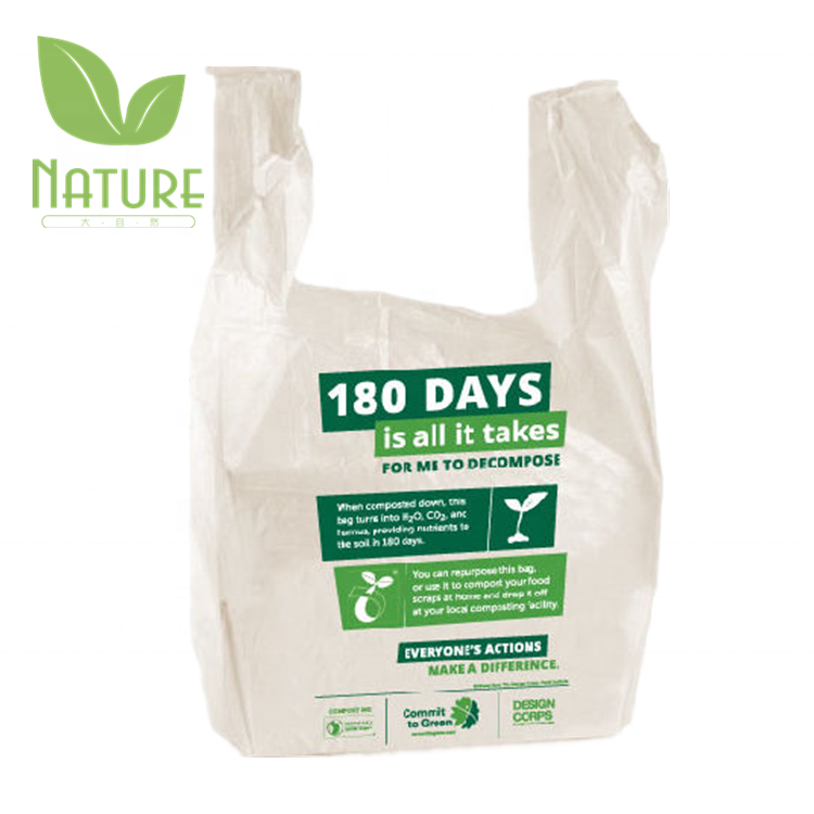 100% Biodegradable Plastic Grocery Shopping Bags Corn Starch Made