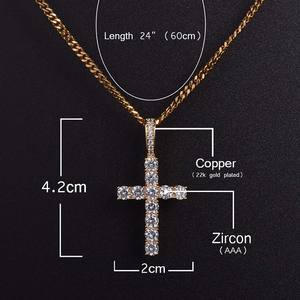 Hip Hop Anha cross Pendant Copper Setting CZ stones Necklace Jewelry for men and women