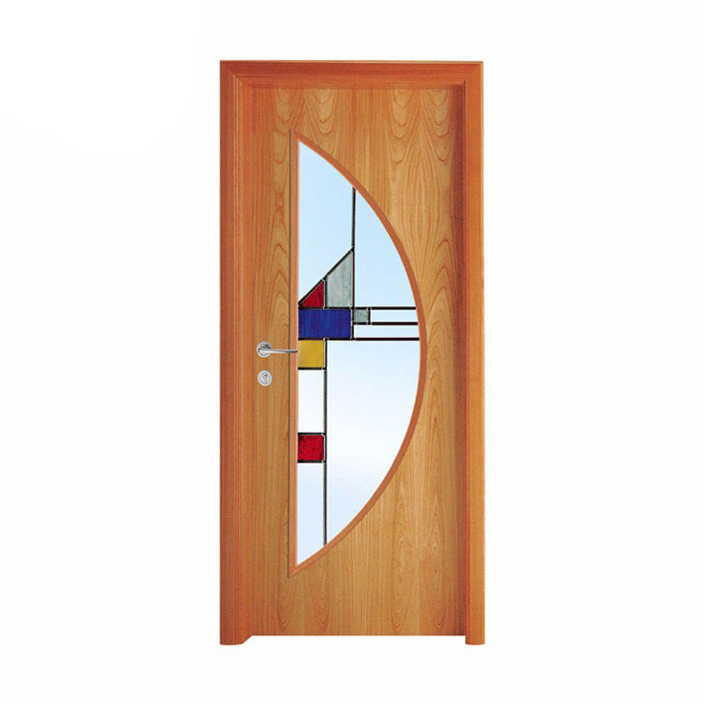 Fashionable and Inspired Design half moon glass insert solid wood door with geometric patterns
