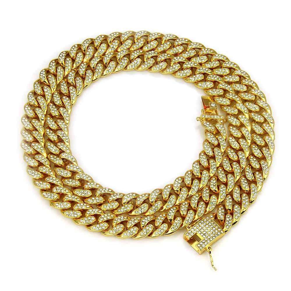 High Quality 12mm Hip Hop Jewelry Cuba Men's necklace Link Chain with Stone Wholesale