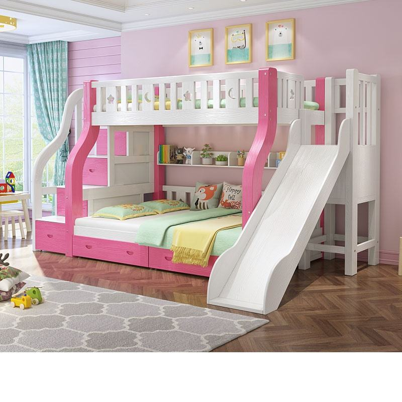 Children Furniture bunk bed children wooden bunk bed with slide for girls