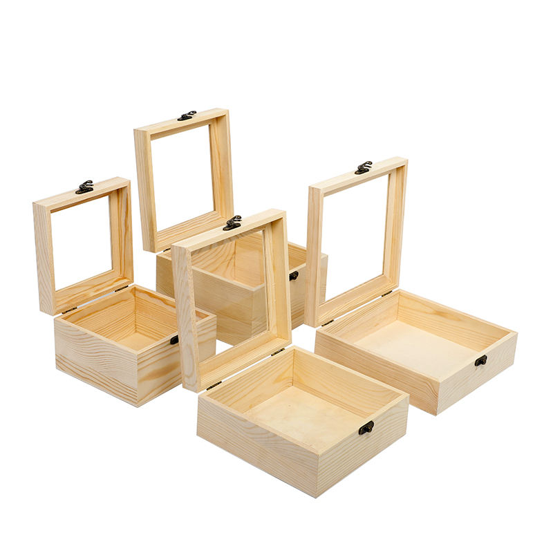 Factory Wholesale Natural Pine Square Wooden Gift Box for Sale