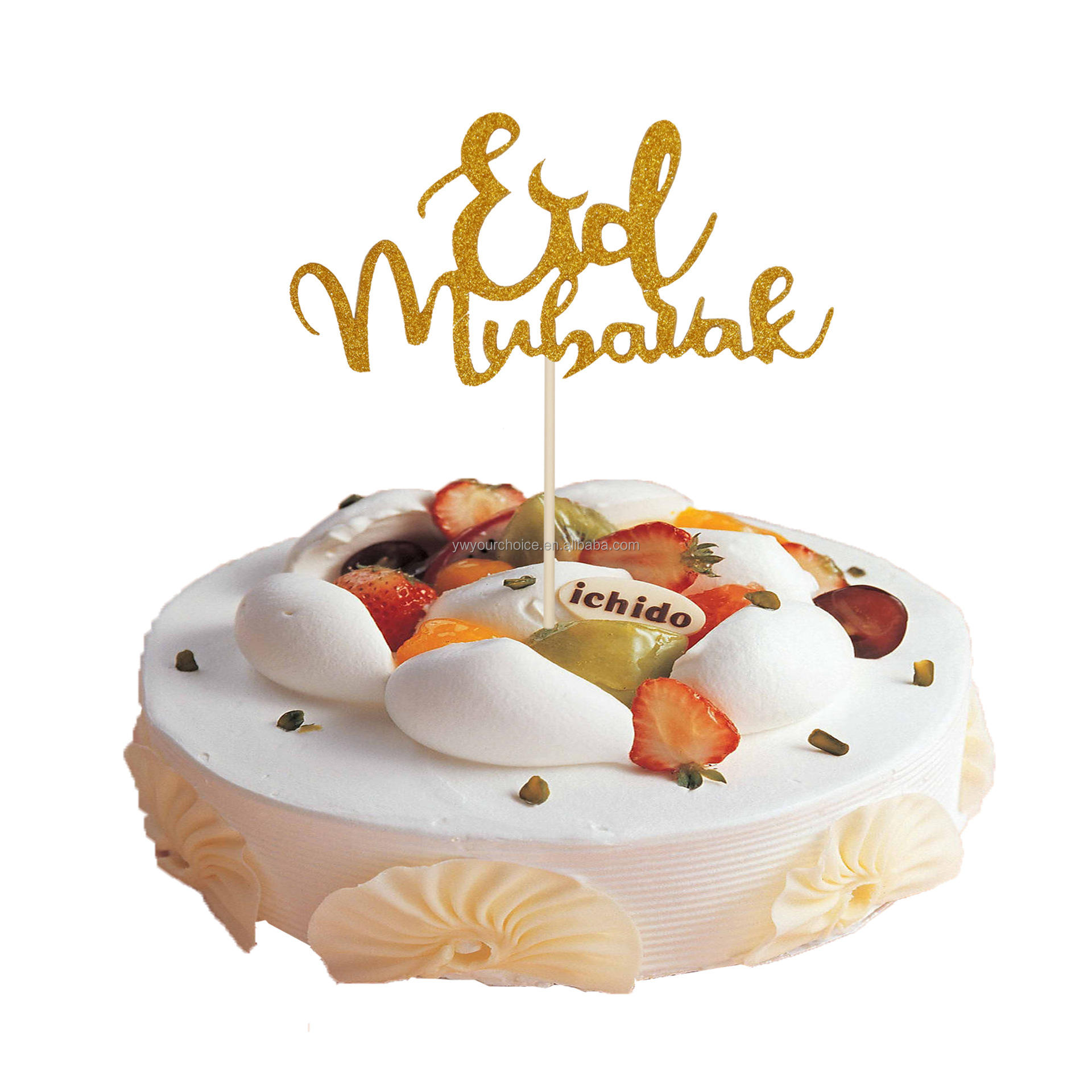 Carry Kaile Hot Selling Eid Mubarak <span class=keywords><strong>Cake</strong></span> Decoratie Ramadan Party Decoratie Islam Moslim Party Decoratie Items Shining