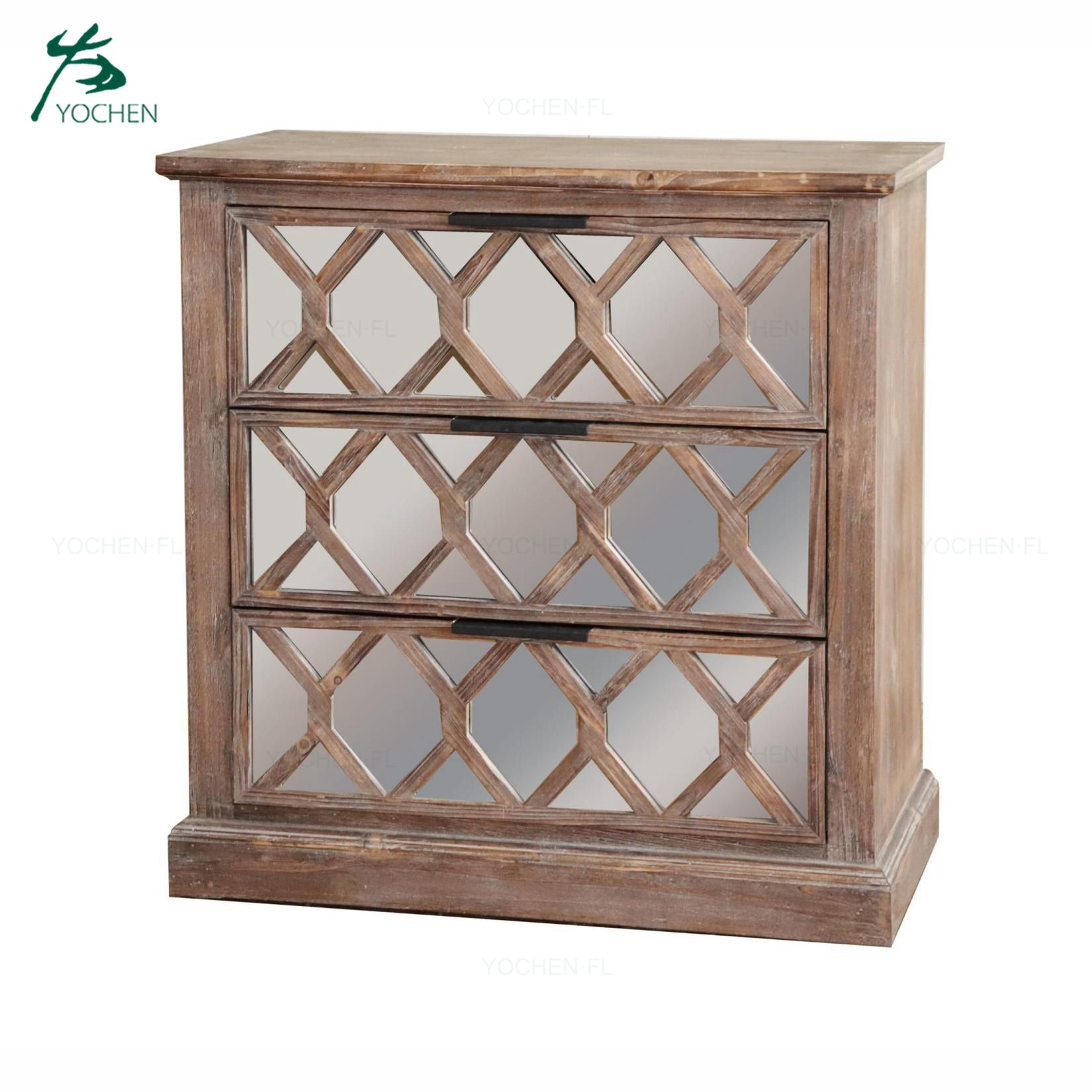 Artistic wooden carve mirror furniture natural wood color mirrored sideboard